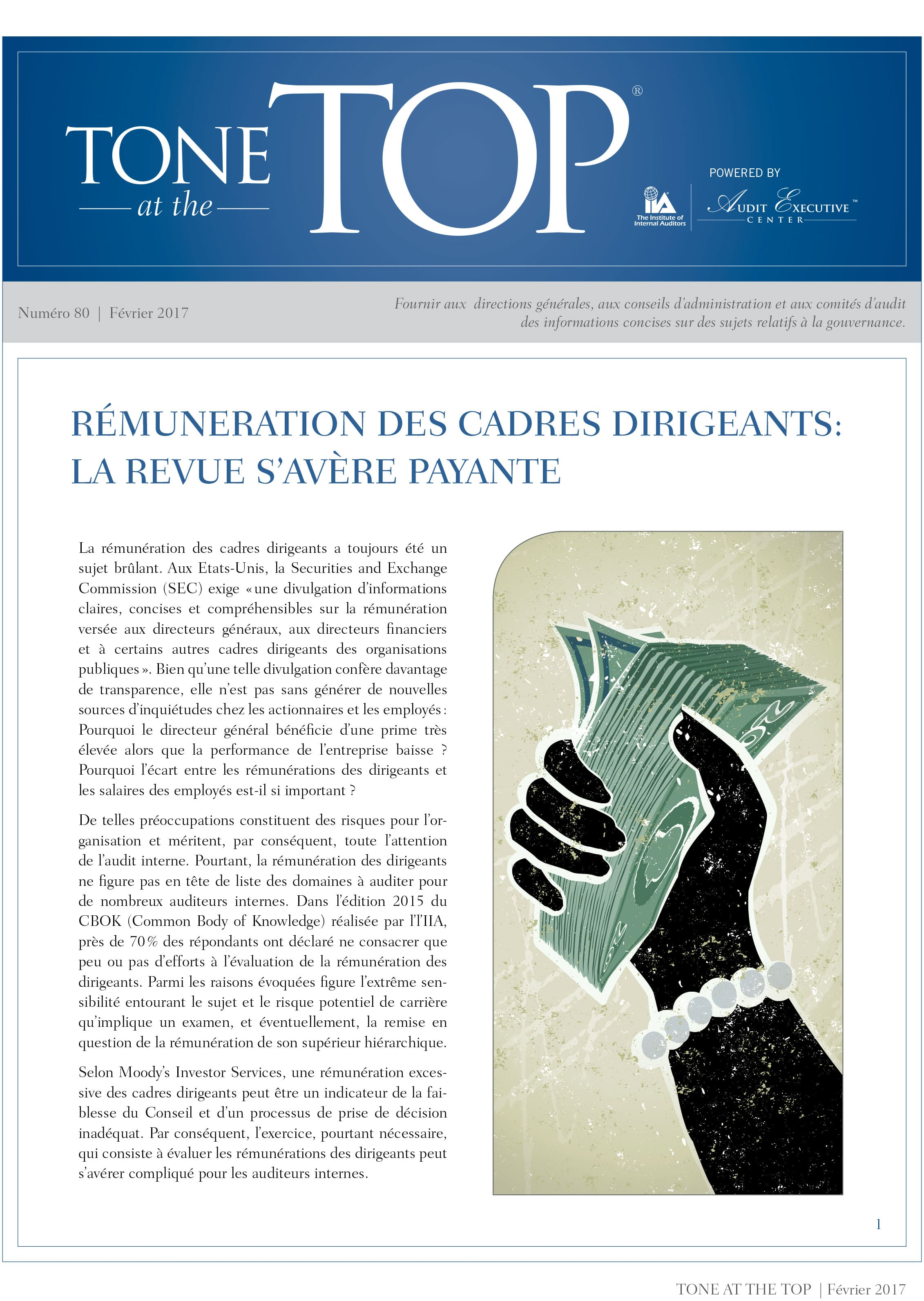 Tone at the top – La rémunération des cadres dirigeants : la revue s'avère payante