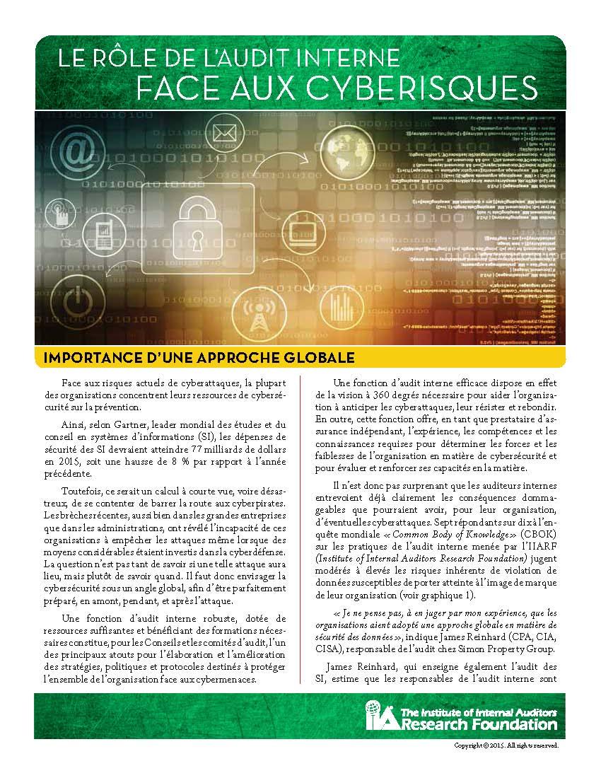 Le rôle de l'audit interne face aux cyberisques – Importance d'une approche globale