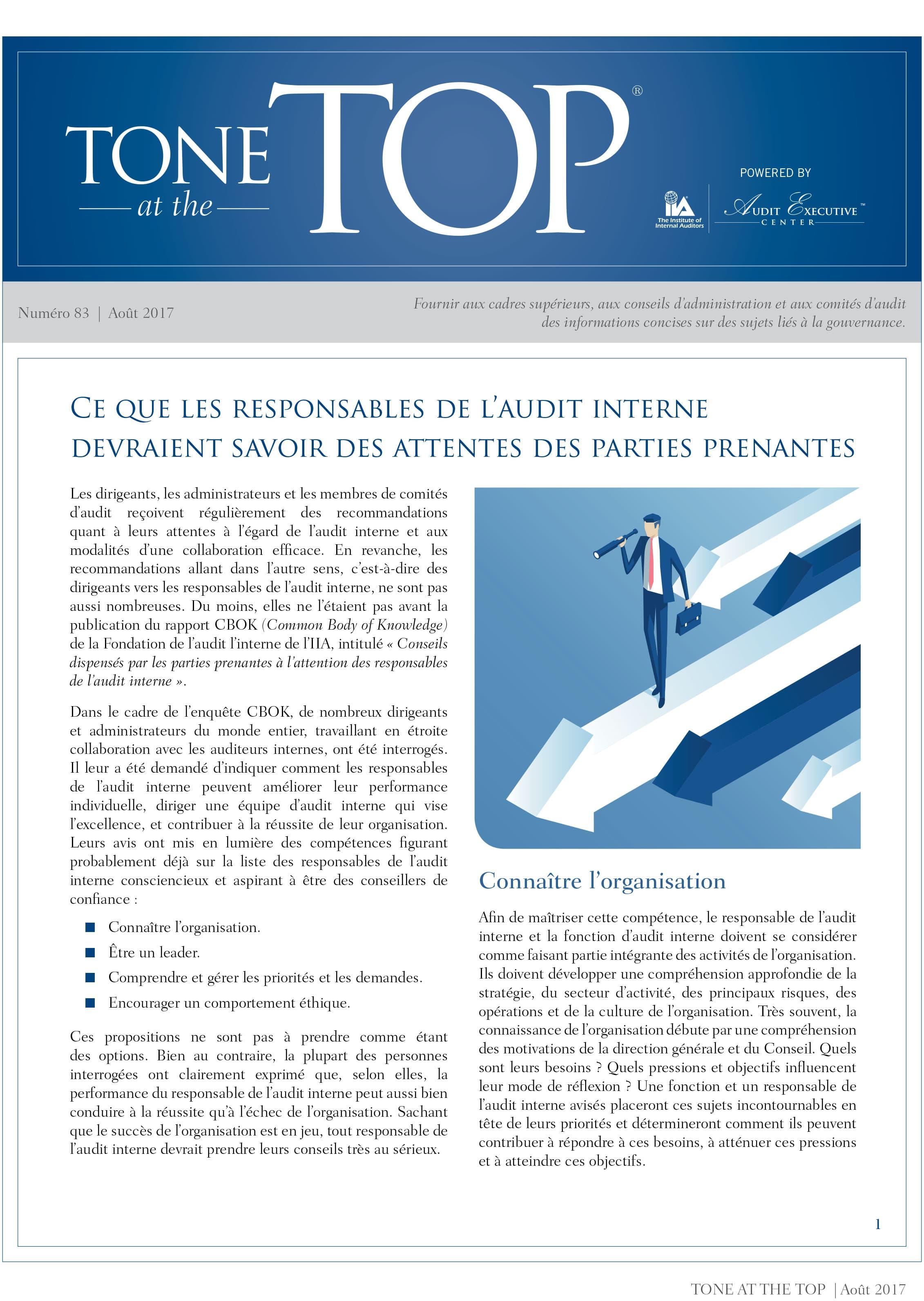 Ce que les responsables de l'audit interne devraient savoir sur les attentes des parties prenantes