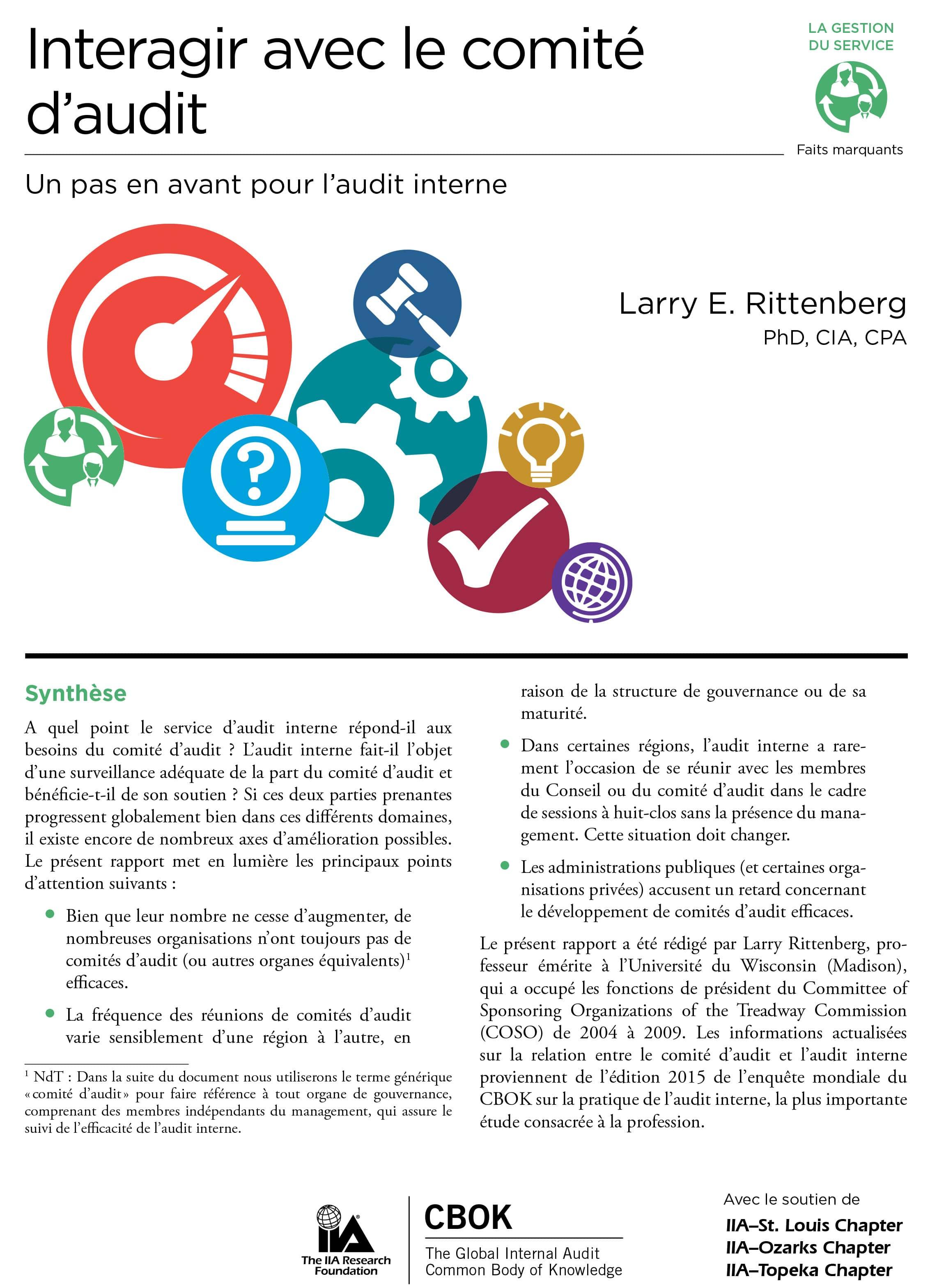 CBOK 2015 :Interagir avec le comité d'audit – Un pas en avant pour l'audit interne